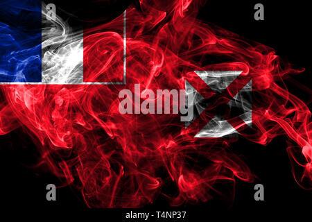 Wallis and Futuna smoke flag, France dependent territory flag - Stock Photo