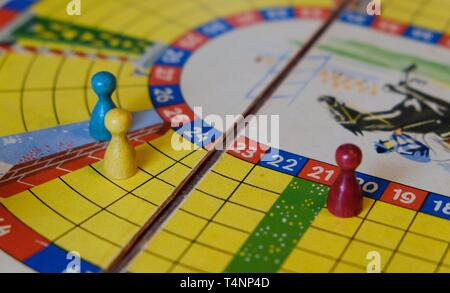 close up of old dutch board game with horses - Stock Photo