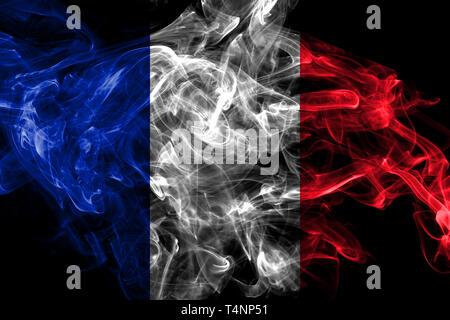 France smoke flag isolated on black background - Stock Photo