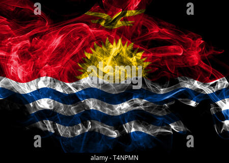 Kiribati smoke flag isolated on black background - Stock Photo