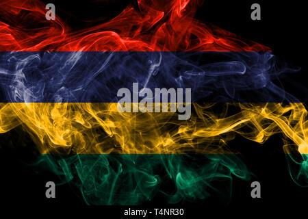 Mauritius smoke flag isolated on black background - Stock Photo