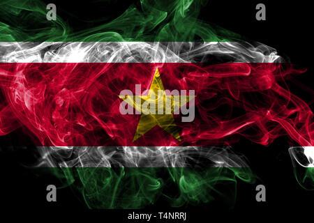 Suriname smoke flag isolated on black background - Stock Photo