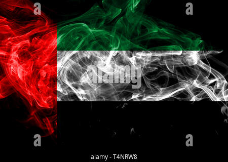 United Arab Emirates smoke flag isolated on black background - Stock Photo