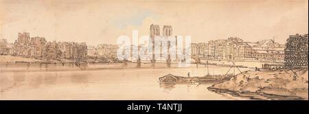 View of Pont de la Tournelle and Notre Dame taken from the Arsenal - Thomas Girtin, circa 1802 - Stock Photo