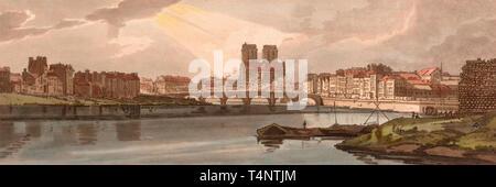 View of the Pont de la Tournelle & Notre Dame Taken from the Arsenal, circa 1802. Thomas Girtin - Stock Photo