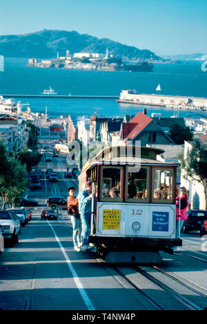 San Francisco California Hyde Street cable car Alcatraz beyond - Stock Photo