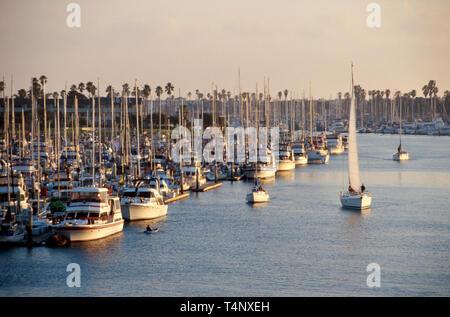 California Oxnard Channel Islands Harbor marina view from bridge - Stock Photo