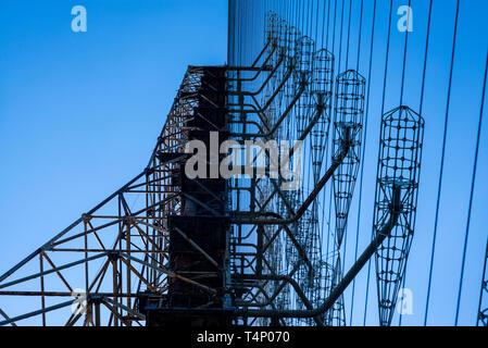 Duga-1 array within the Chernobyl Exclusion Zone, Ukraine. The Duga radar was a soviet over-the-horizon (OTH) radar system aimed at detecting missiles - Stock Photo