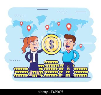 woman and man with global finance coins vector illustration - Stock Photo
