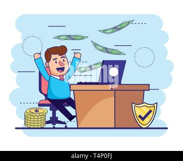 man with laptop in the desk and bills with coins vector illustration - Stock Photo
