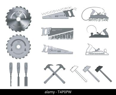 set of tools for working with wood. have a hammer, plane, handsaw, circular saw and a chisel. - Stock Photo
