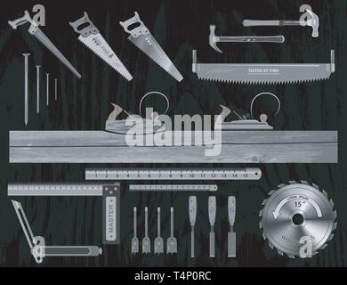 set of tools for working with wood. has a plane, hacksaw, chisel, ruler, square, drill bits , nail. - Stock Photo