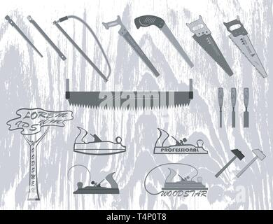 set of tools for working with wood. has a plane, hacksaw, hammers, chisels, and logs. - Stock Photo