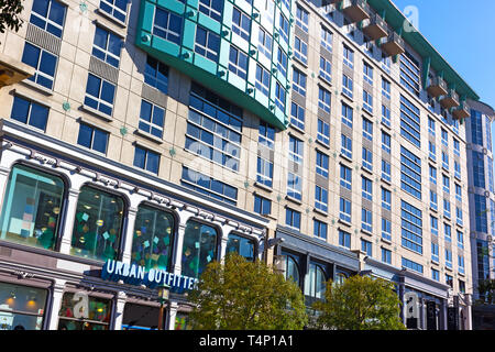 WASHINGTON DC, USA – OCTOBER 30, 2018: Residences at Gallery Place building with luxury condos at the heart of Gallery Place – Chinatown area in autum - Stock Photo