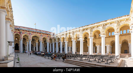 Horizontal panoramic view over the main courtyard at the Thirumalai Nayak Palace in Madurai, India. - Stock Photo