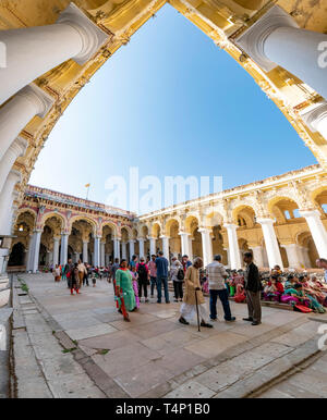 Vertical panoramic view over the main courtyard at the Thirumalai Nayak Palace in Madurai, India. - Stock Photo
