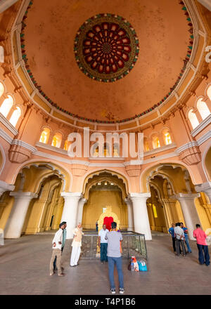 Vertical view of the amazing domed ceiling at the Thirumalai Nayak Palace in Madurai, India. - Stock Photo