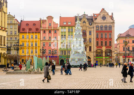 Christmas tree in the town square of Wrocław, Wroclaw, Wroklaw, Poland - Stock Photo