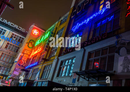 Old neon signs on a wall in Wrocław, Wroclaw, Wroklaw, Poland - Stock Photo