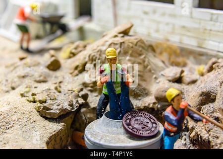 Miniature model of a building site , at Kolejkowo, Wrocław, Wroclaw, Wroklaw, Poland - Stock Photo