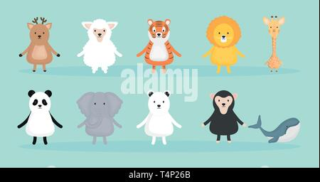 group of cute animals characters vector illustration design - Stock Photo
