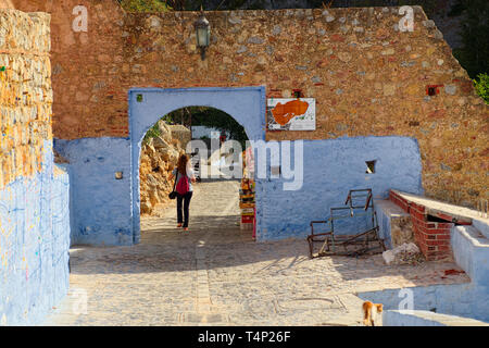 Going to outside of Bab al Anser, also known as the Eastern Gate. An inscription on the inside of the gate reads: 'Those who leave here have no option - Stock Photo