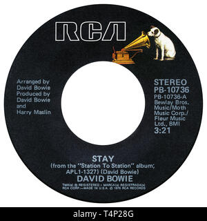 US 45 rpm single of Stay by David Bowie on the RCA label from 1976. Written and arranged by David Bowie, produced by David Bowie and Harry Maslin. - Stock Photo