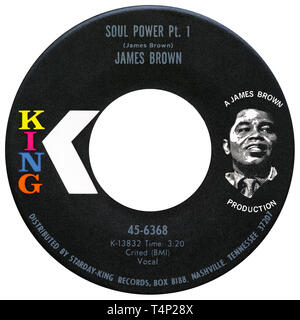US 45 rpm single of Soul Power by James Brown on the King label from 1971. Written and produced by James Brown. - Stock Photo