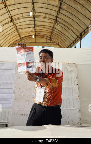 Banda Aceh, Indonesia - April 17: Election officials and witnesses count ballots at a polling station on April 17, 2019 in Banda Aceh, Indonesia. - Stock Photo