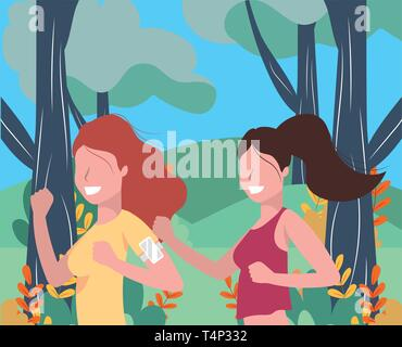 women running portrait with sportwear avatar cartoon character rural landscape vector illustration graphic design - Stock Photo