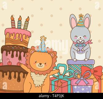 birthday card with cute animals woodland vector illustration design - Stock Photo