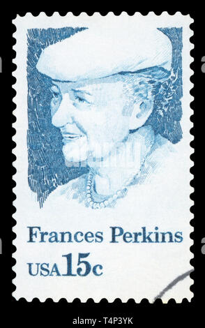 UNITED STATES OF AMERICA - CIRCA 1980: A stamp printed in USA shows Frances Perkins, 1st Woman Cabinet Member, US Secretary of Labor, circa 1980. - Stock Photo