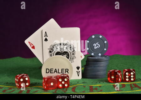 Casino photo concept, cards, chips and dices on the table - Stock Photo