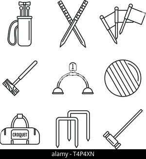 Croquet equipment icons set. Outline set of croquet equipment vector icons for web design isolated on white background - Stock Photo