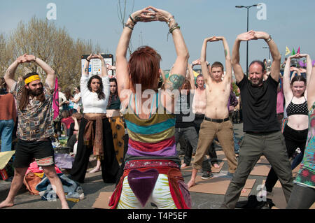 Extinction Rebellion protest, London. April 17th 2019. Waterloo Bridge. Yoga class. - Stock Photo