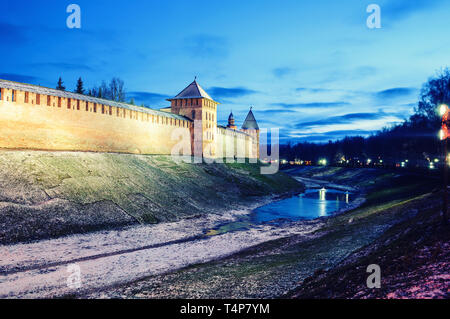 Veliky Novgorod Kremlin winter night in Veliky Novgorod, Russia, colorful night scene. Landmarks of Veliky Novgorod, Russia illuminated at night - Stock Photo