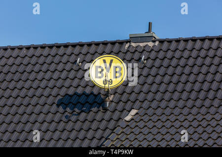 symbolic image, parabolic antenna in club colours and with club emblem of the German football club BVB 09 Borussia Dortmund on a house roof, television aerial, satellite TV, sports, football, Bundesliga, football mania, club loyalty, roofing tiles - Stock Photo
