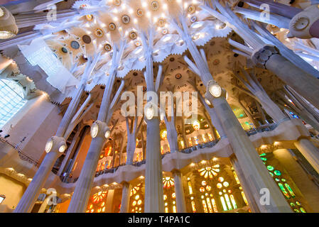 The interior of Sagrada Familia (Church of the Holy Family), the cathedral designed by Gaudi in Barcelona, Spain