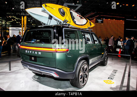 NEW YORK, NY, USA - APRIL 17, 2019: Rivian R1S is new electric vehicle shown at the New York International Auto Show 2019, at the Jacob Javits Center. - Stock Photo