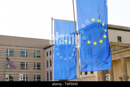European flags, missing stars, an American flag in the background. Taken in Berlin, Germany. - Stock Photo