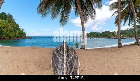 View of Republic of Trinidad and Tobago - Tropical island of Tobago - Parlatuvier bay - Tropical beach in the Caribbean Sea - Stock Photo