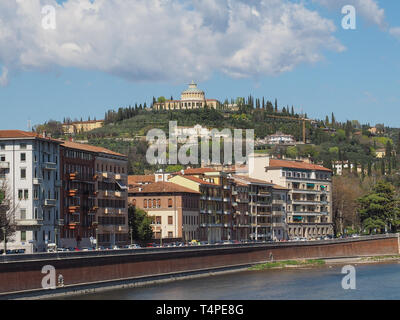Santuario della Madonna di Lourdes (Our Lady of Lourdes sanctuary) on the hills in Verona, Italy - Stock Photo