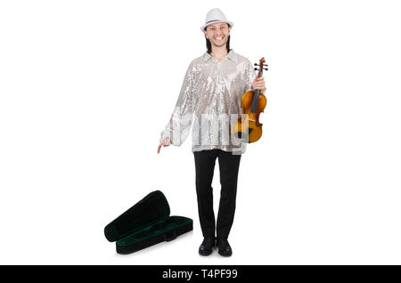 Travelling musician isolated on white - Stock Photo