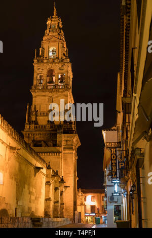 Bell Tower of the Mosque–Cathedral of Córdoba. Image taken from Calle Cardenal Herrero and Calle Céspedes. - Stock Photo
