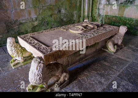 Tomb of Sesnando Davides in Old Cathedral of Coimbra - Stock Photo