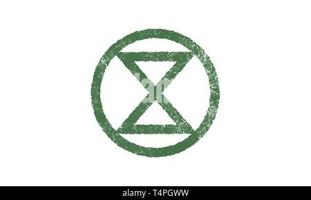 Extinction Symbol, concept illustration Extinction Rebellion moment