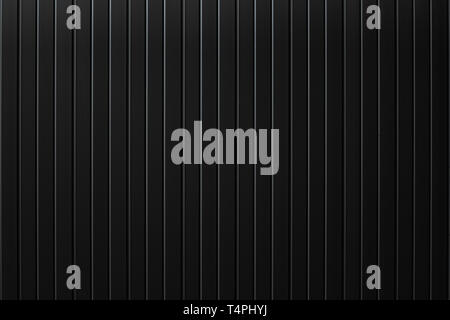 Black metal plate wall, Seamless surface of galvanized steel. Industrial building wall made of corrugated metal sheet, flat background photo texture - Stock Photo