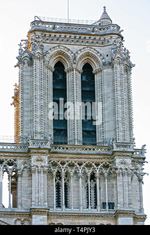 Notre Dame de Paris carhedral in france right tower - Stock Photo