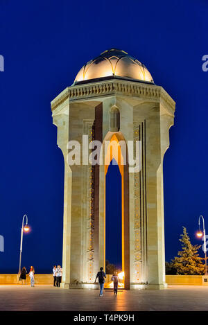 Night view of the Eternal Flame Memorial at Martyr's Lane, Baku, Azerbaijan - Stock Photo