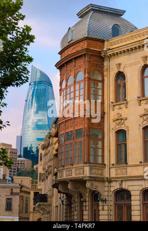 Old houses in the Inner City of Baku with Flaming Towers, Azerbaijan - Stock Photo